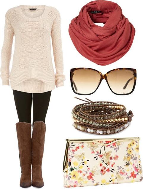look invierno swetter blanco calzas negras botas marrones accesorios